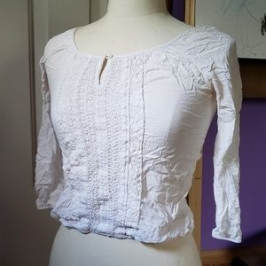 White peasant top 3/4 sleeves